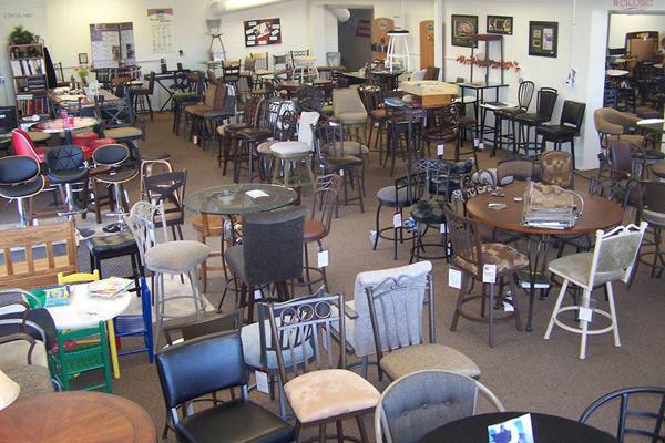 Indoor, overhead shot of Barstools Direct showroom